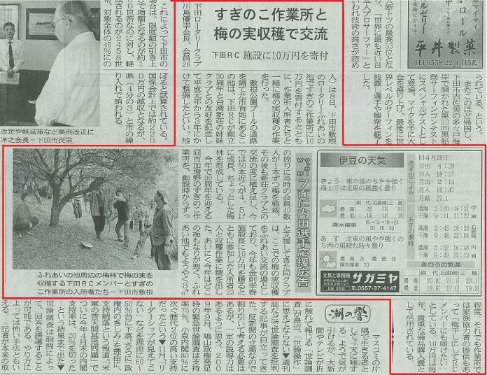 すぎのこ作業所と梅の実収穫で交流 下田RC 施設に10万円を寄附