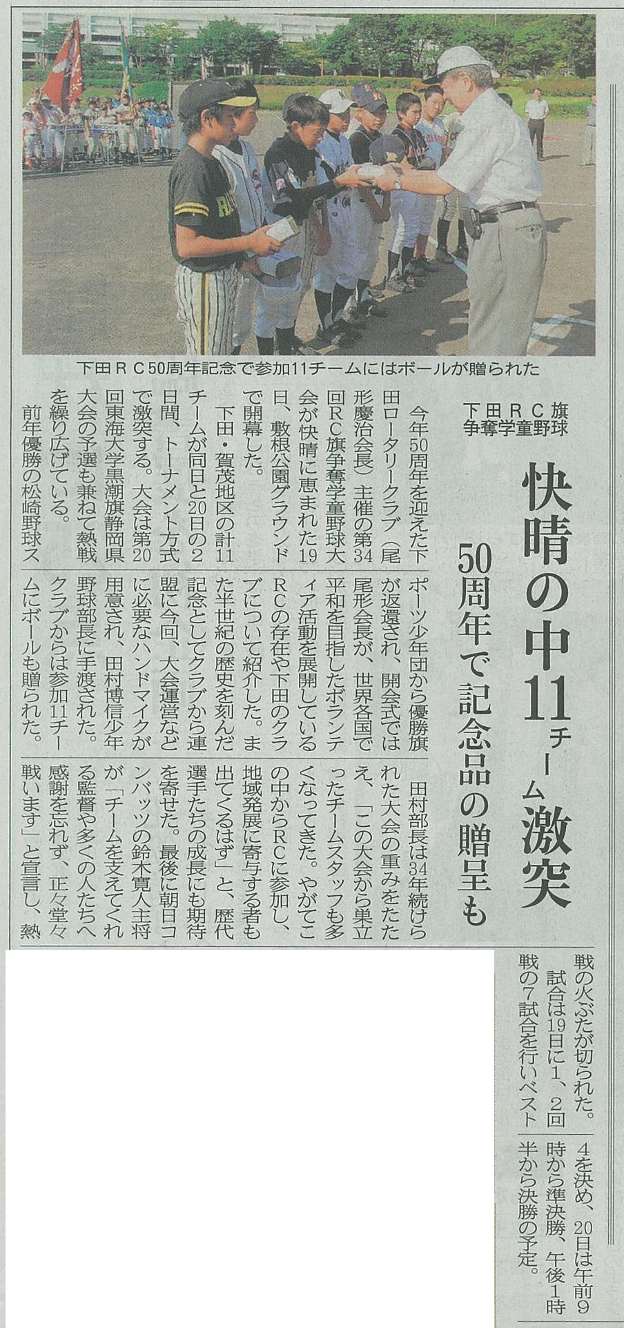 下田RC旗争奪学童野球